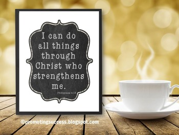 Bible Verse I Can Do All Things Quote Poster Christian Gra