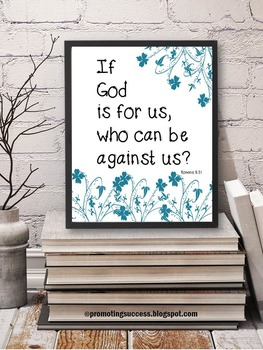 Bible Verse Inspirational Quote Poster Romans 8:31 Christi