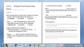 Religion Final Study Guide Grade 6