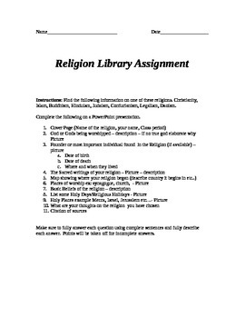Religion Internet Assignment
