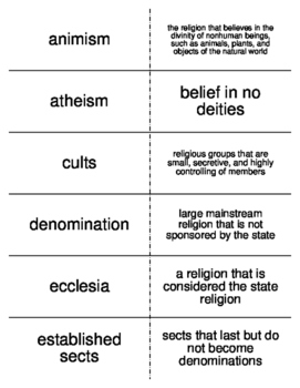 Religion Vocabulary Flash Cards for Sociology