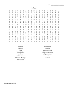 Religion Word Search for Sociology