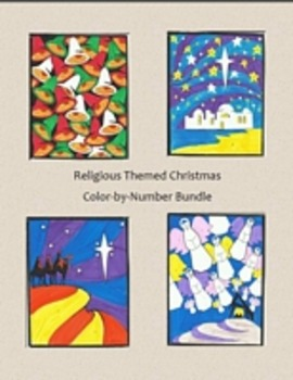 Religious Christmas Color By Number Bundle, Wisemen, Bethl