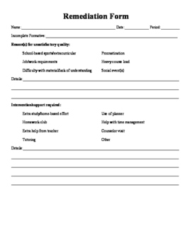 Remediation Form
