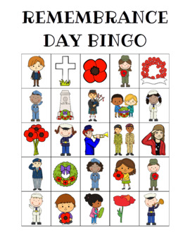 Remembrance Day Bingo Custom Printables