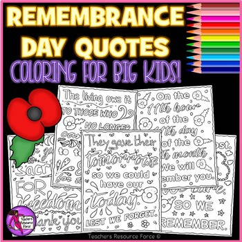 Remembrance Day Doodle Quote Coloring Pages