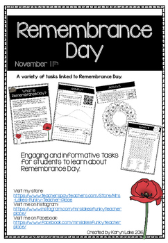 Remembrance Day activities pack