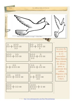 Remembrance Day addition worksheet FRENCH