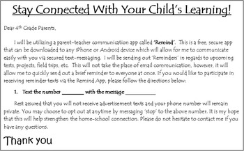 Remind App Parent Letter - Editable