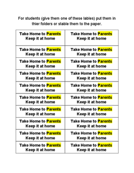 Reminders for parents and students lables