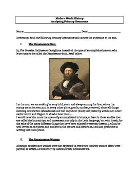 Renaissance Primary Resource Activity