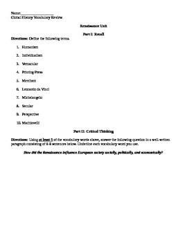 Renaissance Review Sheet