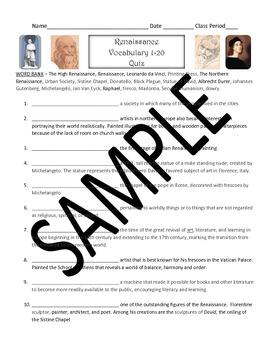 Renaissance Vocabulary Sets and Quizzes (modified quiz inc