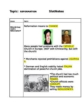 Renaissance/Reformation/Scientific Rev. SlotNotes/Cornell