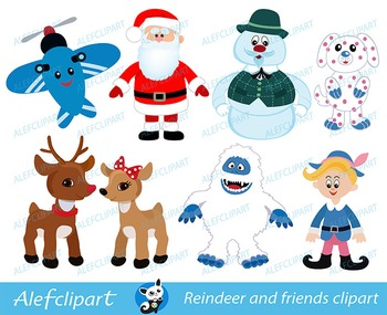 Rendeer Rudolf and friends. Digital clipart. For personal