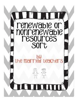Renewable or Nonrenewable Resources Cut and Paste Sort
