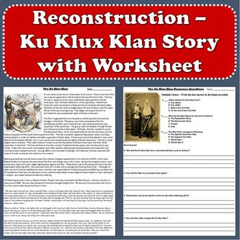 Reconstruction - Ku Klux Klan Story with Questions