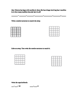 Repeated addition, arrays, equal addends Practice worksheet