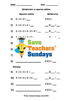Repeated Addition Lesson Plans, Worksheets and More