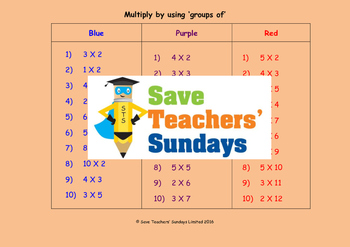 Repeated groups multiplication worksheets (3 levels of dif