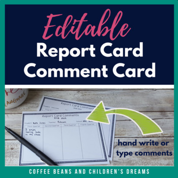 Report Card Comment Card FREEBIE