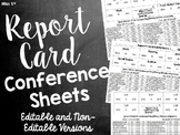 Report Card Conference Sheets