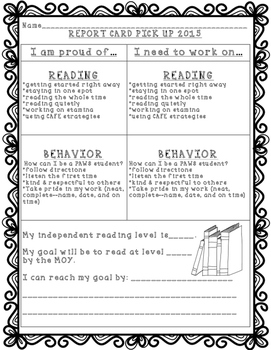 Report Card Pick Up Conference Day Rubric and Script