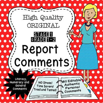Report Comments - Grade 1/2 - High Quality Original!