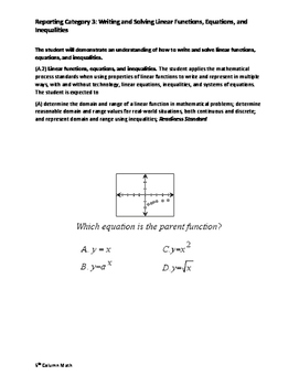 Reporting Category 3: Writing and Solving Linear Functions