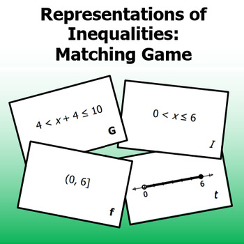 Representations of Inequalities - Matching Game