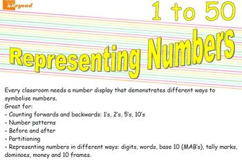 Representing Numbers 1 to 50 - Maths numbers display board