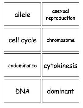 Reproduction and Heredity Flash cards, Middle School Scien