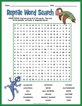Reptiles Word Search Puzzle