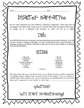 Research-Based Narrative on Disasters!  A fun writing project!
