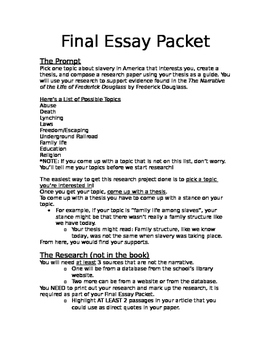 Research Essay Final Project Packet