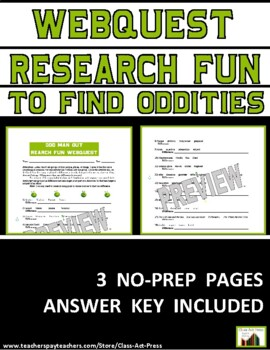Research Fun: Odd Man Out (3 Pages, Answer Key Included, $3)