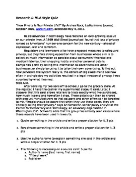 Research, MLA, Thesis, Citation Quiz