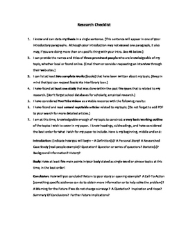 Research Paper / Project Checklist