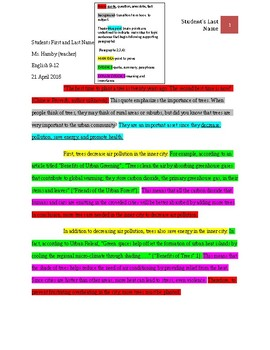 Research Paper: Color Coded: 11 step outline: Example and