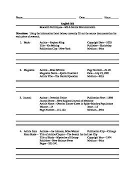 Research Paper--Creating MLA Source Citations Worksheet (B