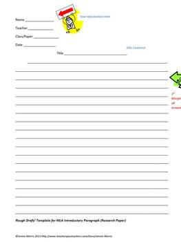 Research Paper Introductory Paragraph Template (MLA)