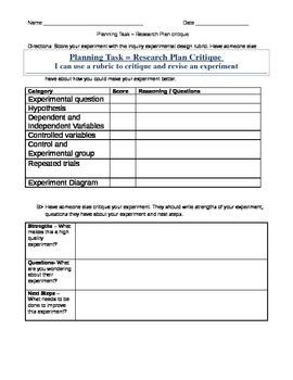 Experiment Planning  - Research Plan Critique