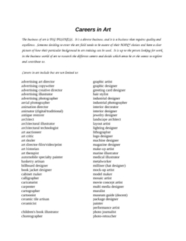 Research and Reality Art Related Careers, High School Essential!