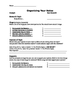 Research notecard organizer