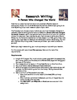 Research Essay: A Person Who Has Changed the World
