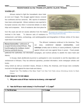 Resistance to slavery assignment