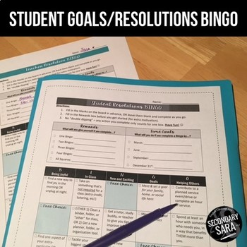 Resolutions BINGO for Students: FREE New Year Goals Activi