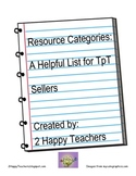Resource Categories: A Helpful List for TpT Sellers