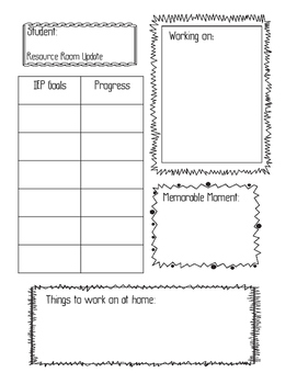 Resource Room Parent Teacher Conference Sheet