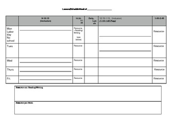 Resource Teacher schedule template